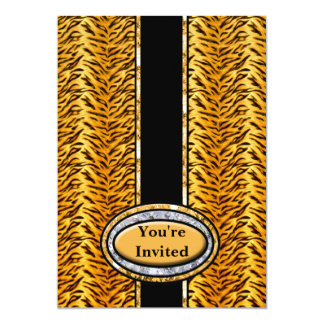 Wild Tiger Diamond Monogram 5x7 Paper Invitation Card