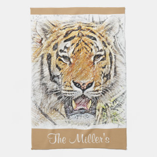 Wild Tiger Sketch - Safari Theme - Personalized Tea Towel