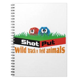 Wild track and field animals spiral note book