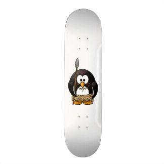 Wild Tribal Penguin Funny Cartoon Skateboard Deck