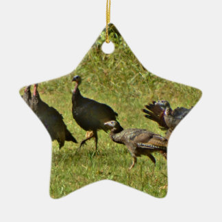 Wild Turkey, Camouflage colors Ceramic Star Decoration