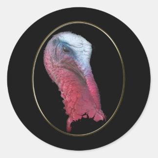 Wild Turkey Head Round Sticker