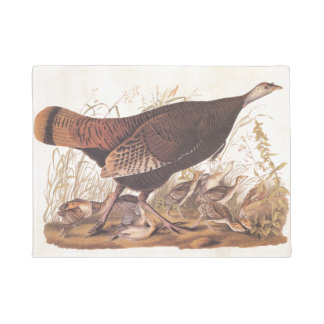 Wild Turkey Hen and Chicks Audubon Vintage Art Doormat