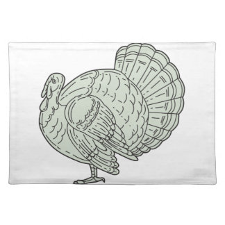 Wild Turkey Side Mono Line Placemat