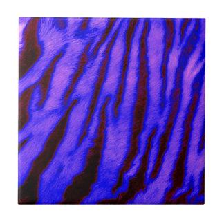 Wild & Vibrant Blue Tiger Stripes Ceramic Tile