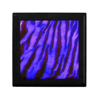 Wild & Vibrant Blue Tiger Stripes Small Square Gift Box