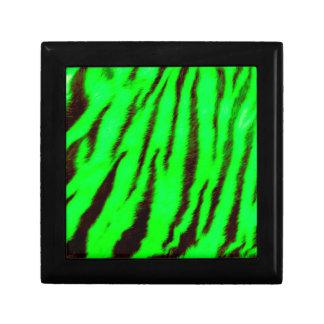 Wild & Vibrant Green Tiger Stripes Small Square Gift Box