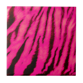 Wild & Vibrant Pink Tiger Stripes Ceramic Tile