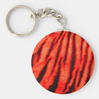 Wild & Vibrant Red Tiger Stripes Basic Round Button Key Ring