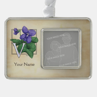 Wild Violet Personalized Flower Monogram Silver Plated Framed Ornament