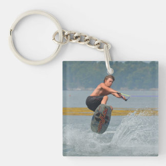Wild Wakeboarder Single-Sided Square Acrylic Key Ring