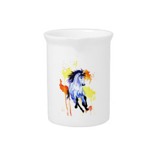 Wild Watercolor Horse Pitcher
