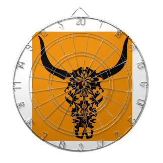 wild-west-cow-skull-horns-black-white-vector-clip- dartboard