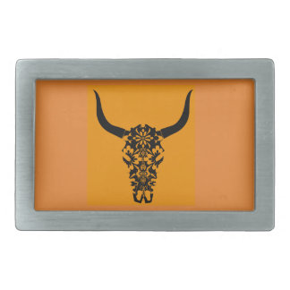 wild-west-cow-skull-horns-black-white-vector-clip- rectangular belt buckles