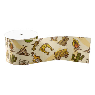 Wild west cowboy colored with guitar and cactus grosgrain ribbon