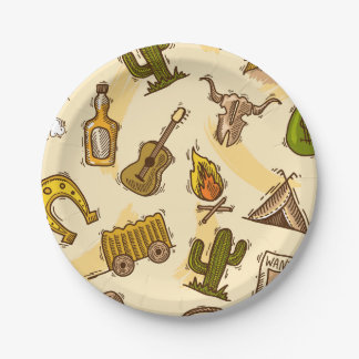 Wild west cowboy colored with guitar and cactus paper plate