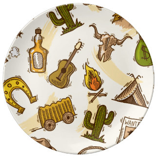 Wild west cowboy colored with guitar and cactus plate