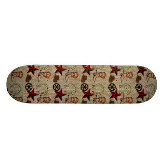 Wild West Cowboy Country Western on Burlap Pattern Skate Board