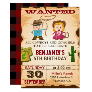 Wild West Cowboy Kids Birthday Party Invitation