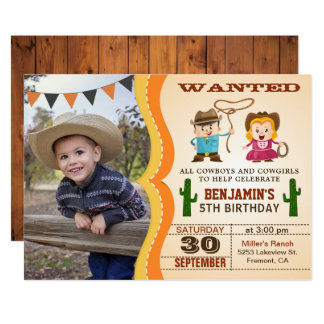 Wild West Cowboy Kids Photo Birthday Party Invite