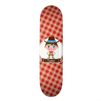 Wild West Cowboy Sheriff, Red Gingham Kid's 18.1 Cm Old School Skateboard Deck