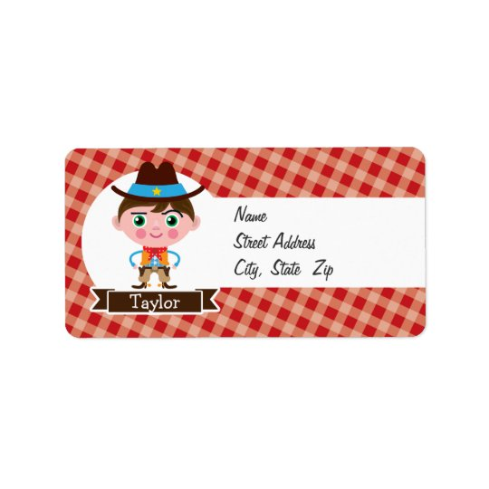 Wild West Cowboy Sheriff, Red Gingham Kid's Address Label