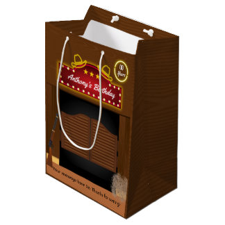 Wild West Cowboy Themed Birthday Guest Favor Medium Gift Bag