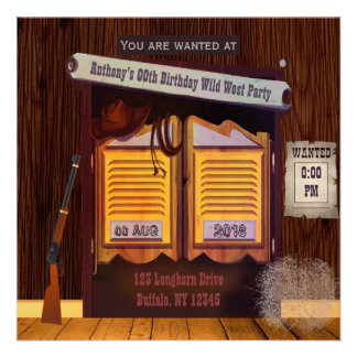 Wild West Cowboy Themed Party add photo invitation