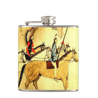 Wild West Indians Horses Native American Folk Art Hip Flask