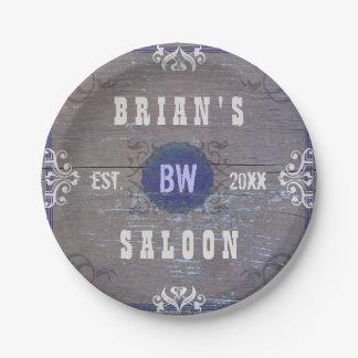 Wild West Saloon Party Rustic Vintage Wood Custom Paper Plate