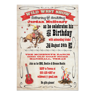 "Wild West Show Birthday Party Invitation Poster 5"" X 7"" Invitation Card"