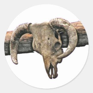 Wild West Skull Classic Round Sticker