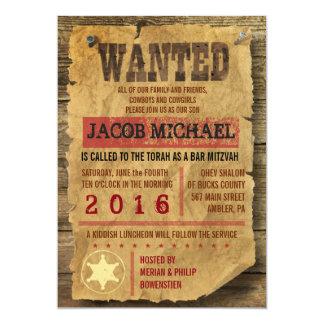 WILD WEST WANTED Bar Bat Mitzvah Invitation