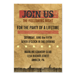 "WILD WEST WANTED Bar Bat Mitzvah Party Card 3.5"" X 5"" Invitation Card"