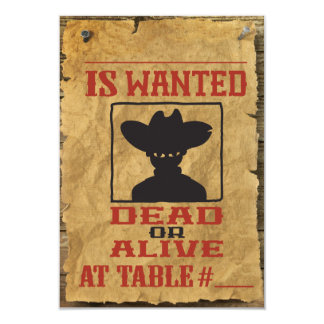 "WILD WEST WANTED Bar Bat Mitzvah Table Escort Card 3.5"" X 5"" Invitation Card"