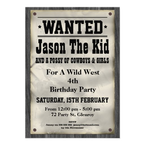 Wild West Wanted Poster Birthday Invitation