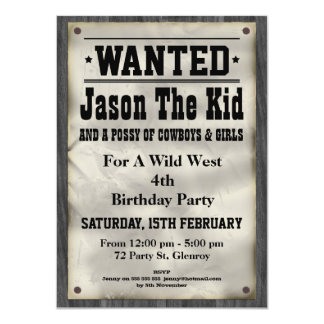 Wild West Wanted Poster Birthday Invitation 11 Cm X 16 Cm Invitation Card