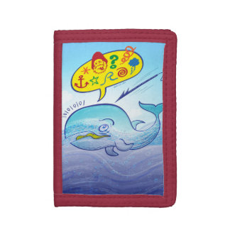 Wild whale saying bad words while fleeing harpoon trifold wallets