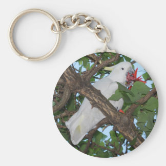Wild White Cockatoo Parrot Keychain