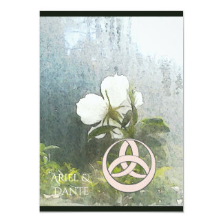 Wild White Rose Triquetra Handfasting Vertical Card