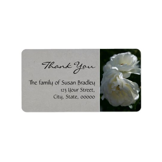 Wild White Roses Thank You Label 1 Address Label