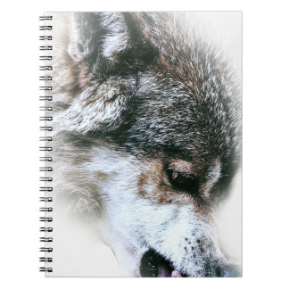 Wild Wolf Face Angry Eating Spiral Note Book