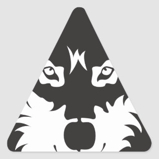 Wild Wolf Face Silhouette Triangle Sticker