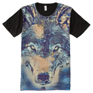 Wild Wolf Kaleidoscope Art Graphic Tee All-Over Print T-Shirt