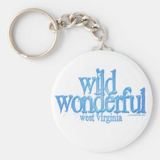 Wild Wonderful West Virginia-Blue Basic Round Button Key Ring
