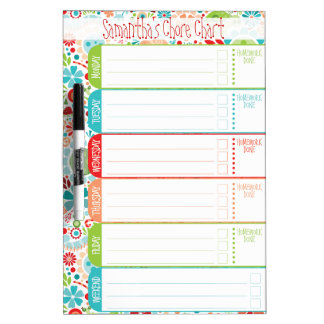 Wild World - Kids' To-Do List / Schedule / Chores Dry Erase White Board