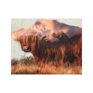Wild yak - Yak nepal - double exposure art - ox Canvas Print