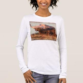Wild yak - Yak nepal - double exposure art - ox Long Sleeve T-Shirt