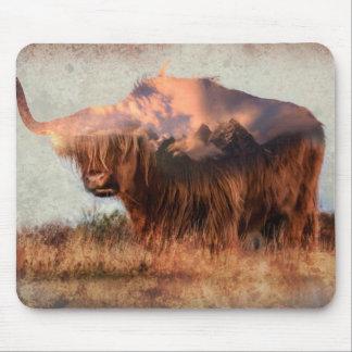Wild yak - Yak nepal - double exposure art - ox Mouse Pad