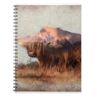 Wild yak - Yak nepal - double exposure art - ox Notebooks